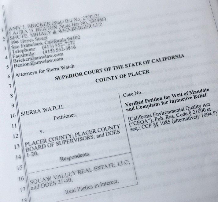 Sierra Watch Squaw Valley lawsuit